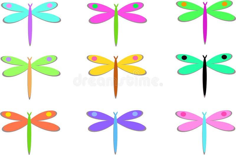 五颜六色的小点蜻蜓混合 皇族释放例证