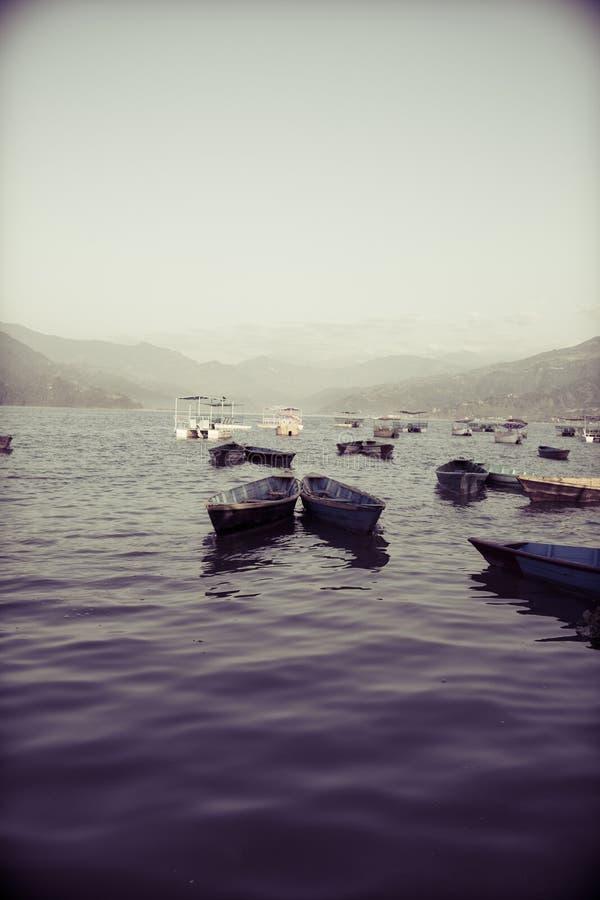 五颜六色的小船在Phewa湖在博克拉 库存图片