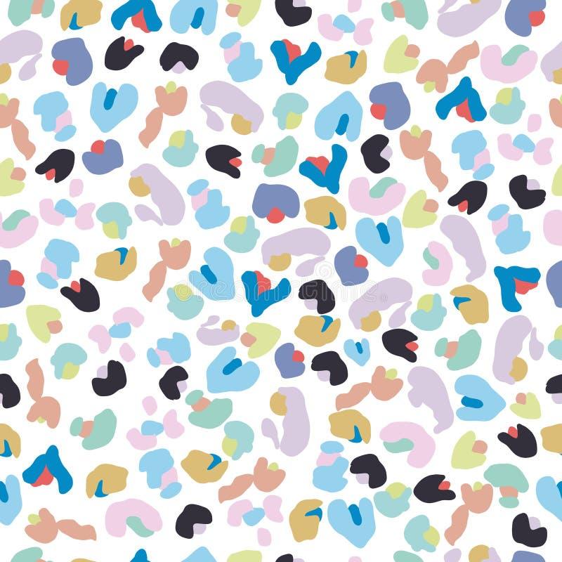 五颜六色的小豹子样式 无缝的五颜六色的孩子贴墙纸 皇族释放例证