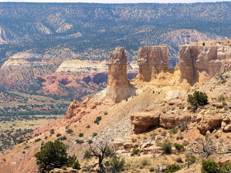 五颜六色的尖顶在被绘的沙漠上坐盛大地 库存照片