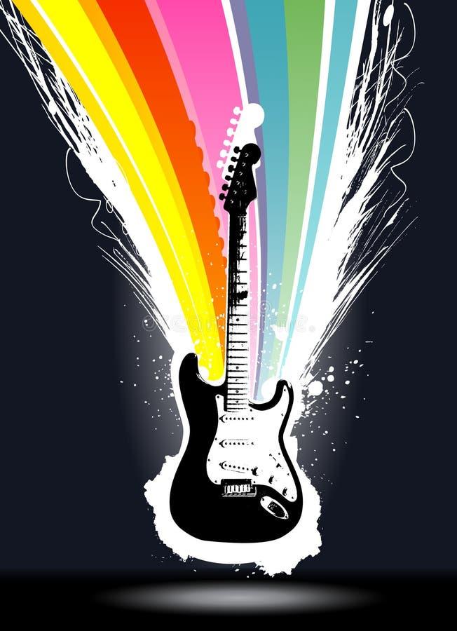 五颜六色的展开吉他向量 皇族释放例证
