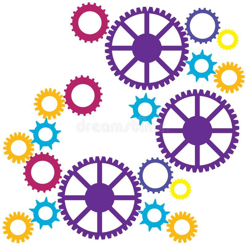 五颜六色的嵌齿轮 向量例证