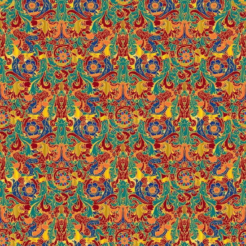 五颜六色的巴洛克式的无缝的样式 希腊样式装饰物蜿蜒背景 葡萄酒花卉被仿造的重复背景 库存例证
