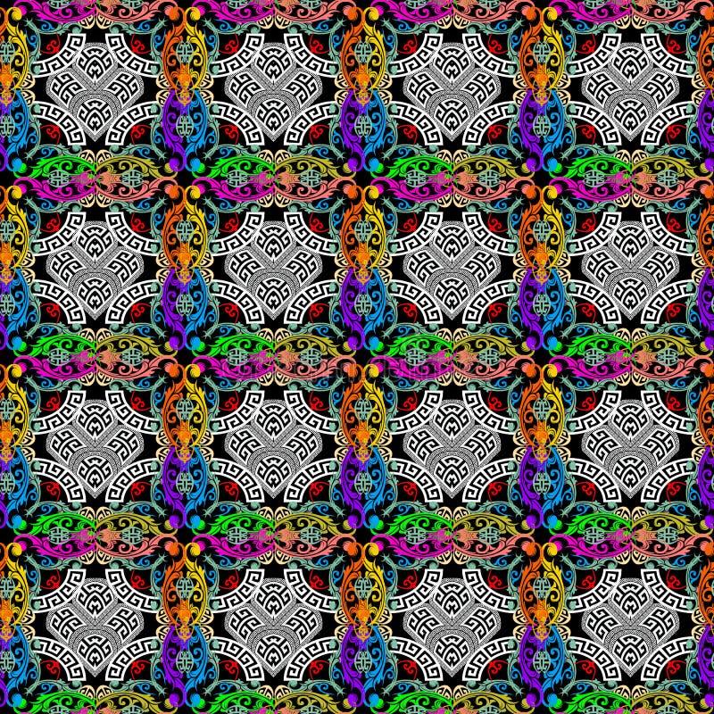 五颜六色的巴洛克式的样式希腊人传染媒介无缝的样式 方格的装饰格子花呢披肩背景 明亮的巴洛克式的花,叶子 皇族释放例证