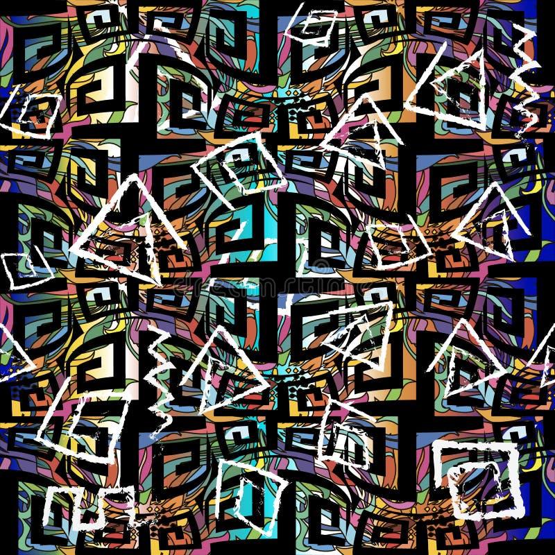 五颜六色的希腊传染媒介无缝的样式 几何装饰背景 摘要重复古老样式背景 白垩难看的东西 皇族释放例证