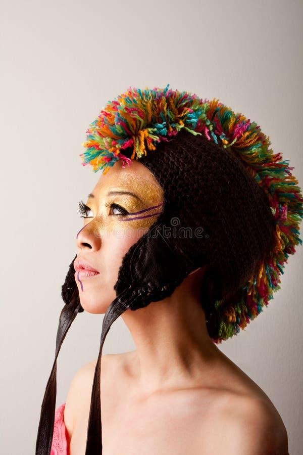 五颜六色的帽子莫霍克族 库存图片