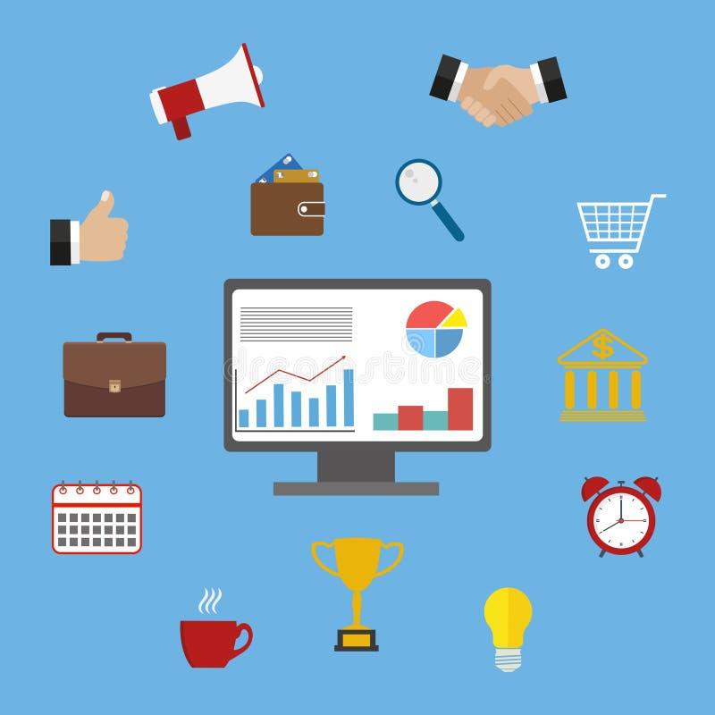 五颜六色的平的企业和财务象的抽象传染媒介收藏 设计机动性和Web应用程序的元素 向量例证