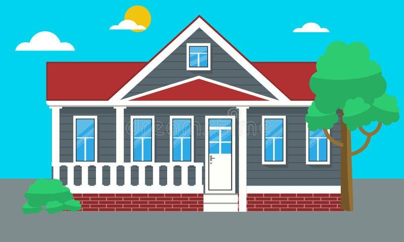 五颜六色的平的住宅房子或城内住宅村庄 也corel凹道例证向量 库存例证