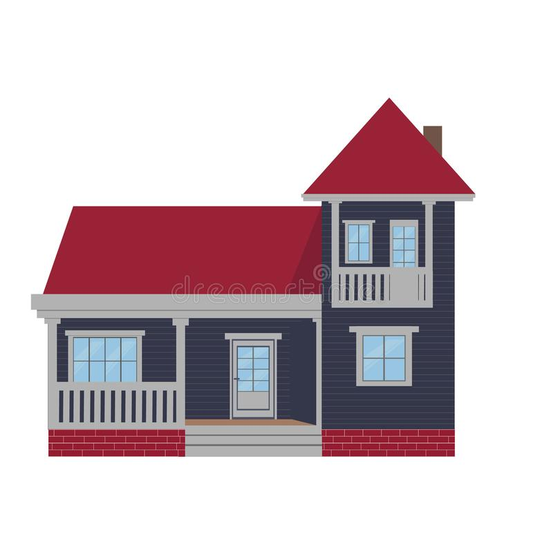 五颜六色的平的住宅房子或城内住宅村庄 也corel凹道例证向量 皇族释放例证