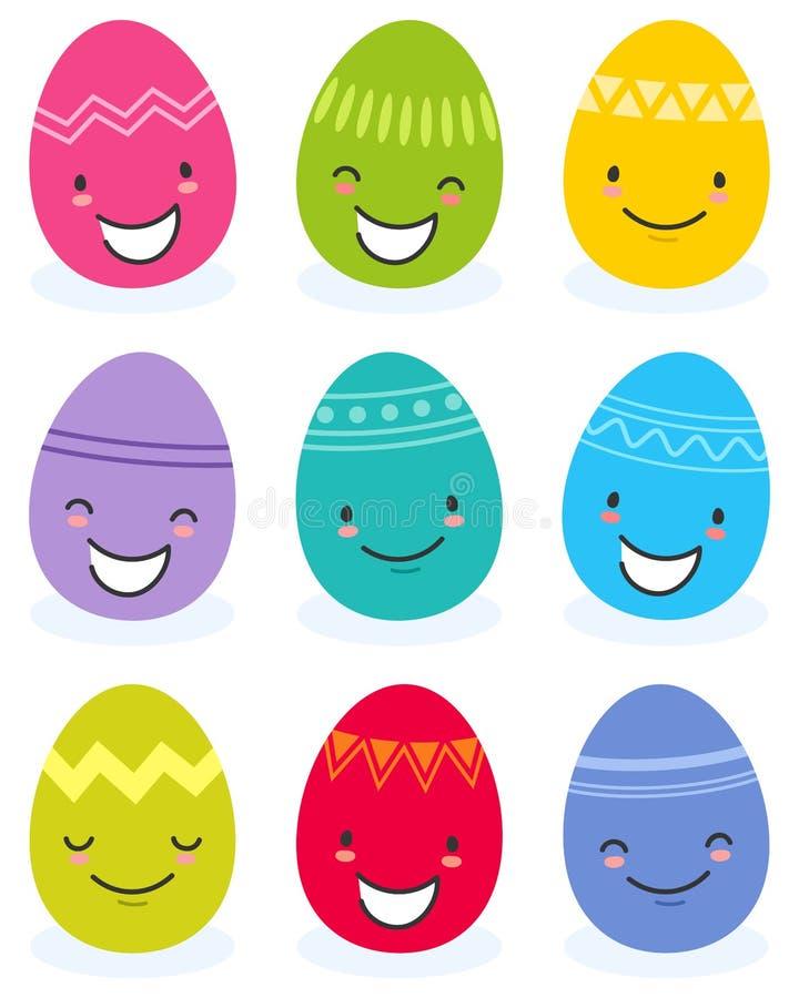 五颜六色的平的设计复活节彩蛋,与滑稽的面孔的漫画人物的简单的传染媒介例证 皇族释放例证
