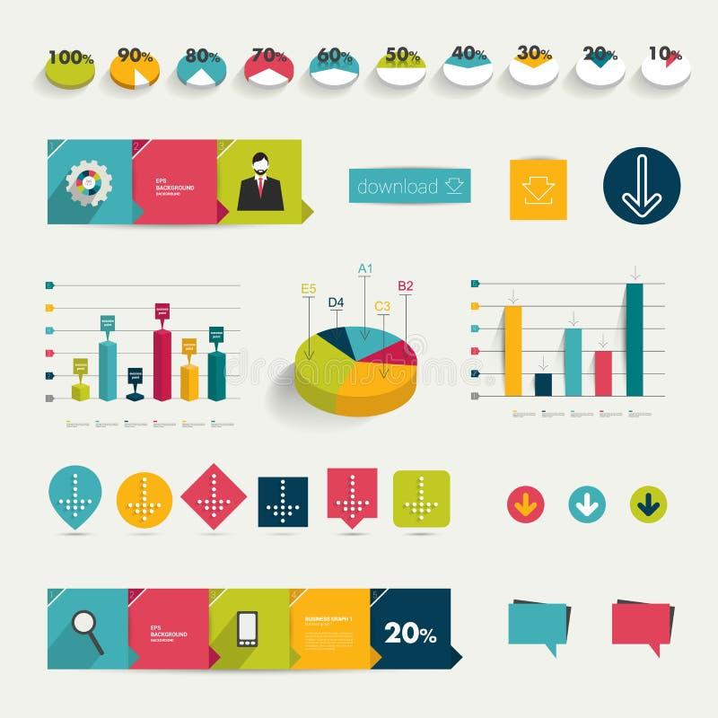 五颜六色的平的infographic元素的汇集。 库存例证