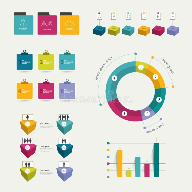 五颜六色的平的infographic元素的汇集 企业形状 皇族释放例证