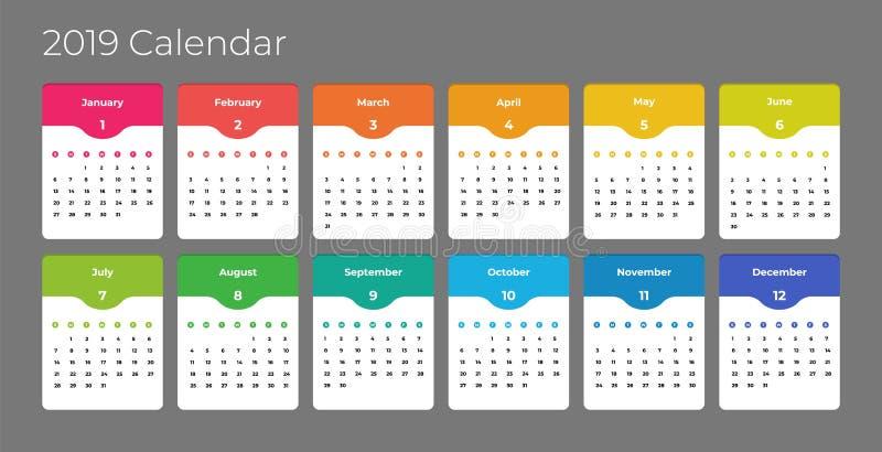 五颜六色的年2019日历传染媒介模板 传染媒介EPS 10 向量例证