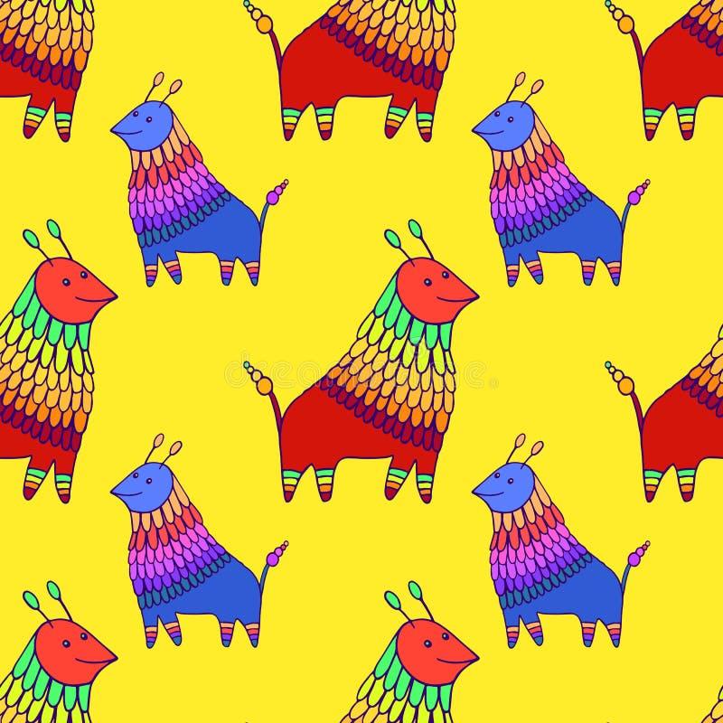 五颜六色的幻想动物字符无缝的样式,在yallow背景 滑稽的乱画动画片生物不尽的纹理 皇族释放例证