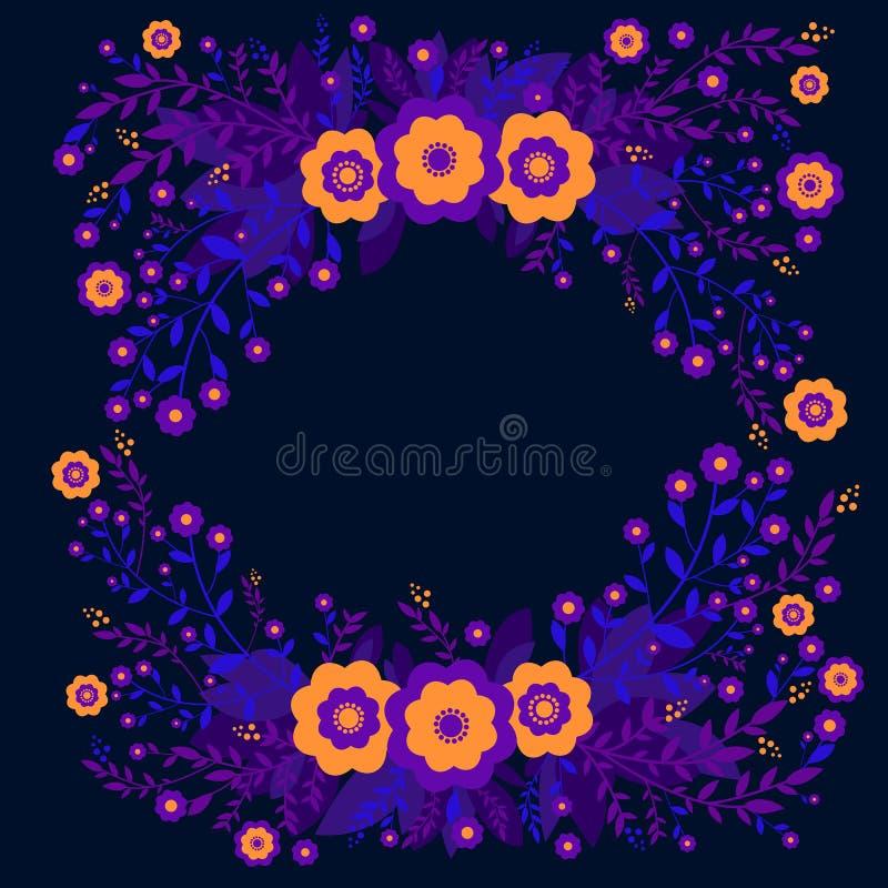 五颜六色的幻想摘要原始的花框架 设计与明亮的橙色和紫罗兰色开花,植物的贺卡 向量例证