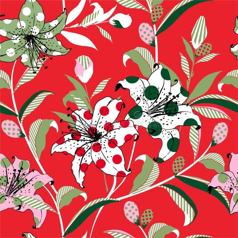 五颜六色的开花的百合庭院花在和乐趣心情流行艺术样式临时补缺者与圆点和镶边无缝的样式传染媒介 向量例证