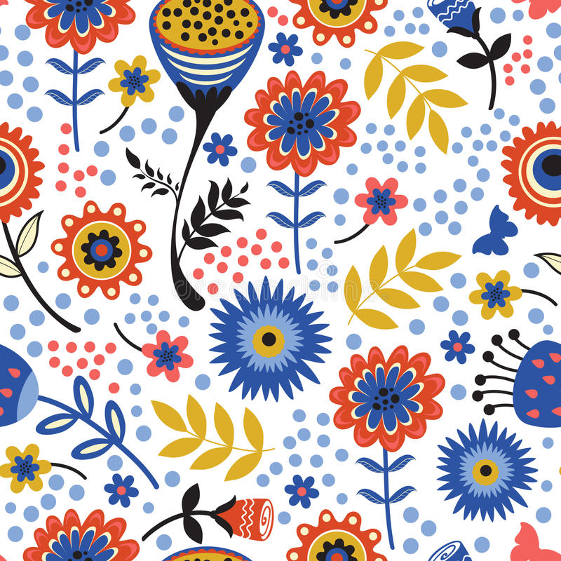 五颜六色的开花的花无缝的样式 皇族释放例证