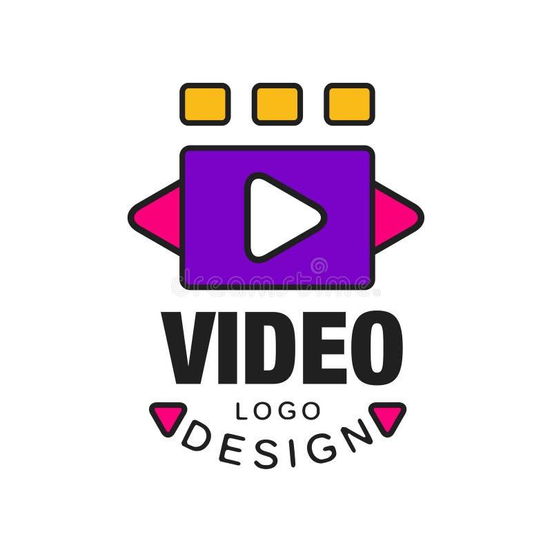 五颜六色的录影与戏剧按钮的商标模板创造性的设计 摄影或电影工业概念 平的线型 皇族释放例证