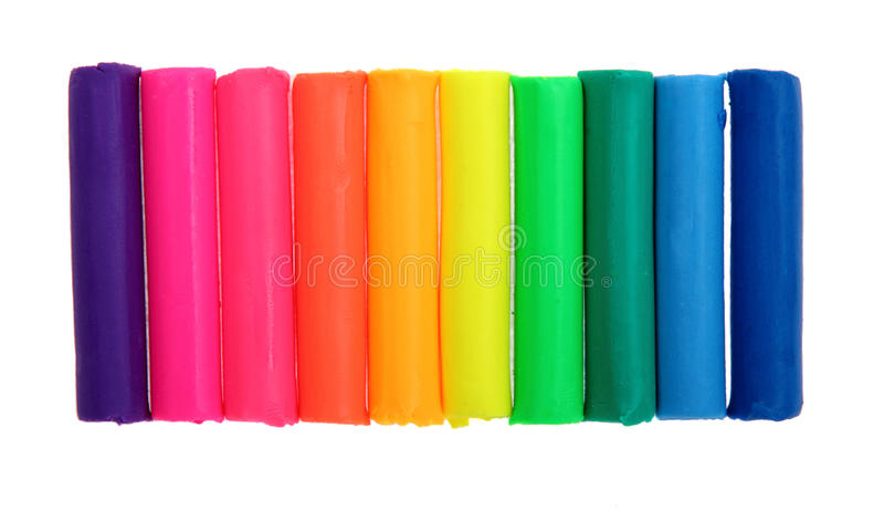 五颜六色的彩色塑泥棒 免版税库存图片