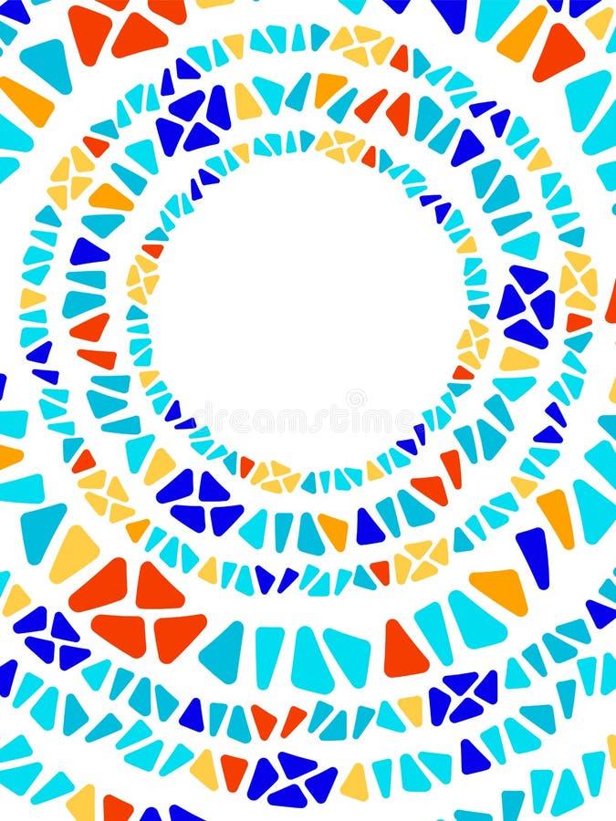 五颜六色的彩色玻璃三角形状马赛克几何圈子框架,传染媒介 库存例证