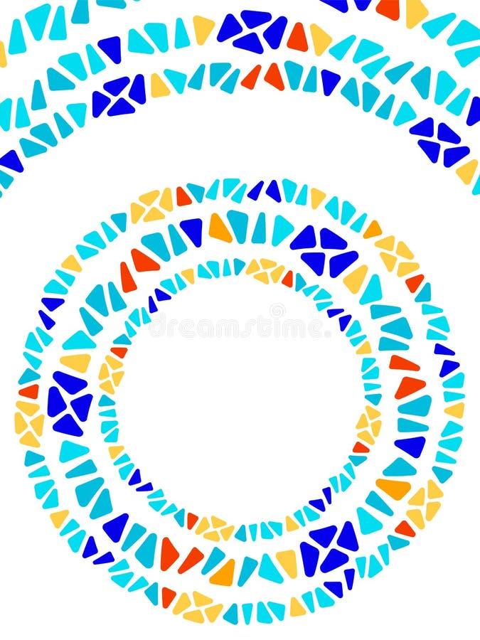 五颜六色的彩色玻璃三角形状马赛克几何圈子框架,传染媒介 向量例证