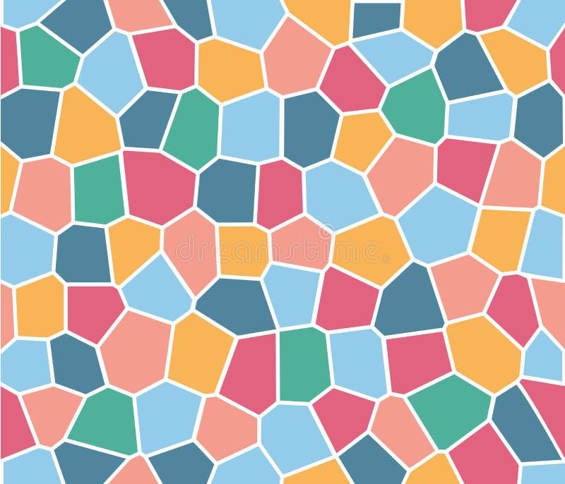 五颜六色的彩色玻璃瓦片传染媒介无缝的样式 库存例证