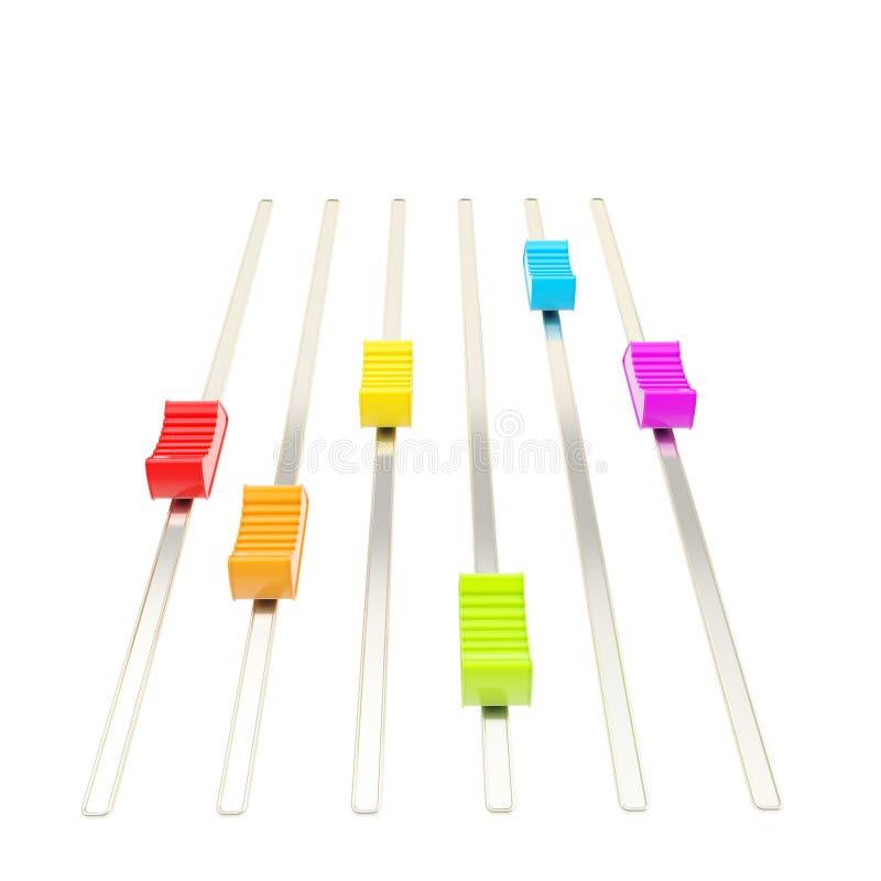 五颜六色的彩虹在路径跟踪的色的滑子 皇族释放例证