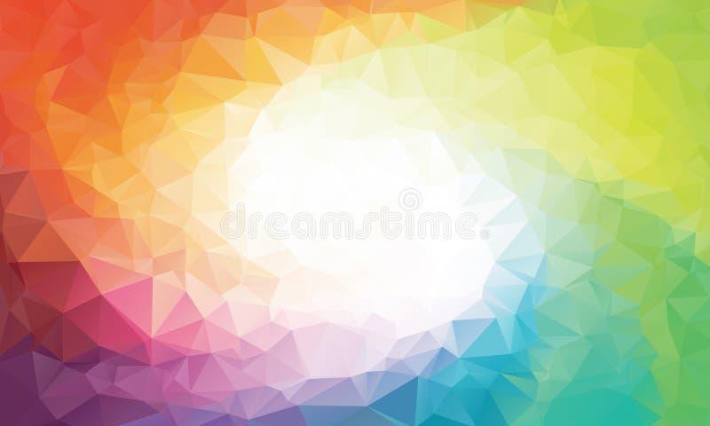 五颜六色的彩虹多角形背景或传染媒介 向量例证