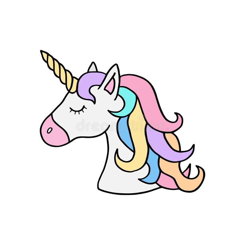 五颜六色的彩虹独角兽` s头例证 向量例证