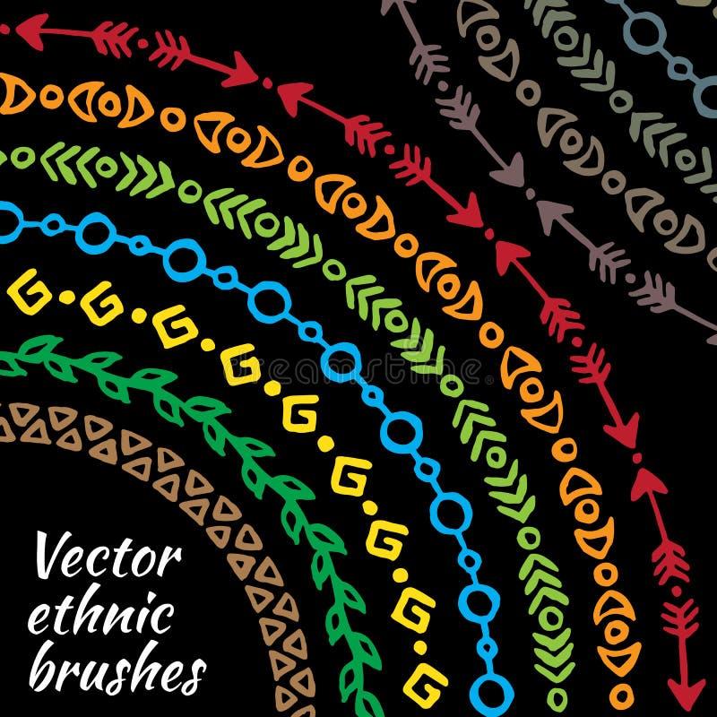 五颜六色的彩虹种族部族电刷组 库存例证