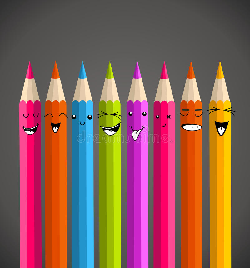 五颜六色的彩虹铅笔滑稽的动画片 皇族释放例证