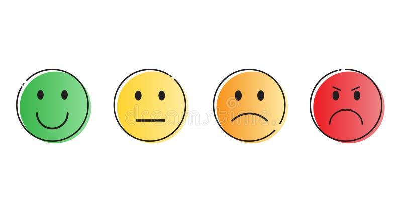 五颜六色的微笑的动画片面孔人情感象集合 库存例证