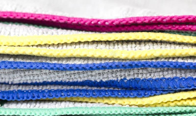 五颜六色的微纤维布料 库存图片