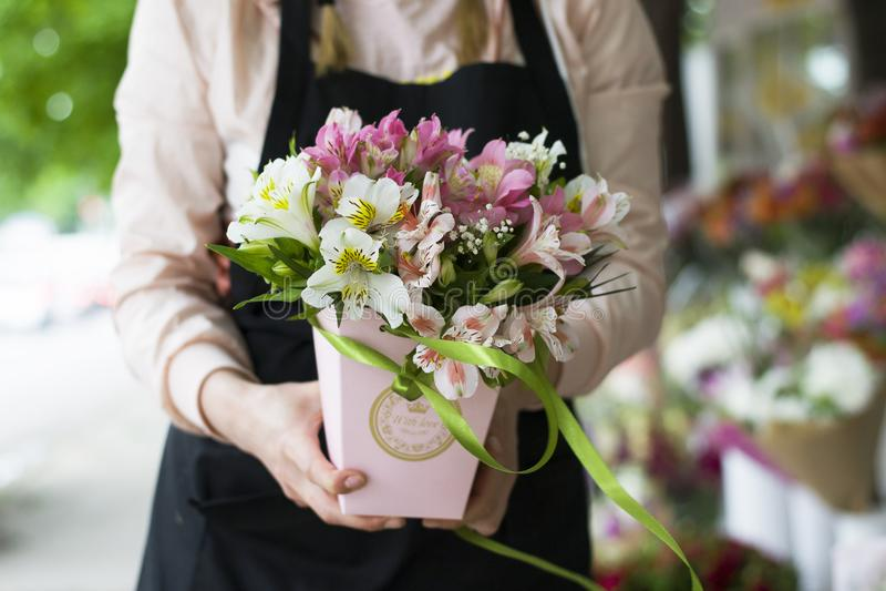 五颜六色的德国锥脚形酒杯花 以礼物bo的形式,多彩多姿的德国锥脚形酒杯大花束在花店的被卖 免版税库存图片