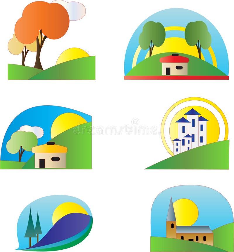 五颜六色的徽标集 库存例证