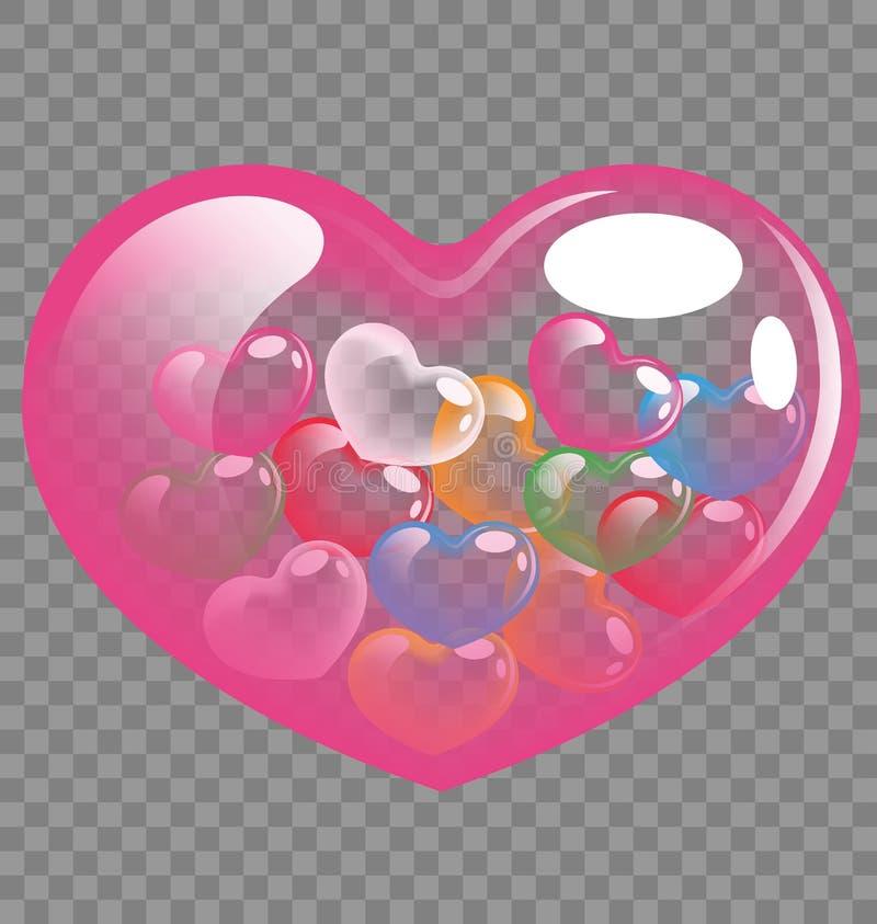 五颜六色的心脏为情人节和婚礼概念迅速增加 库存例证