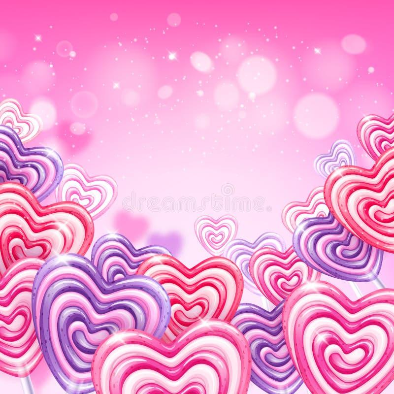 五颜六色的心脏形状棒棒糖糖果背景 皇族释放例证