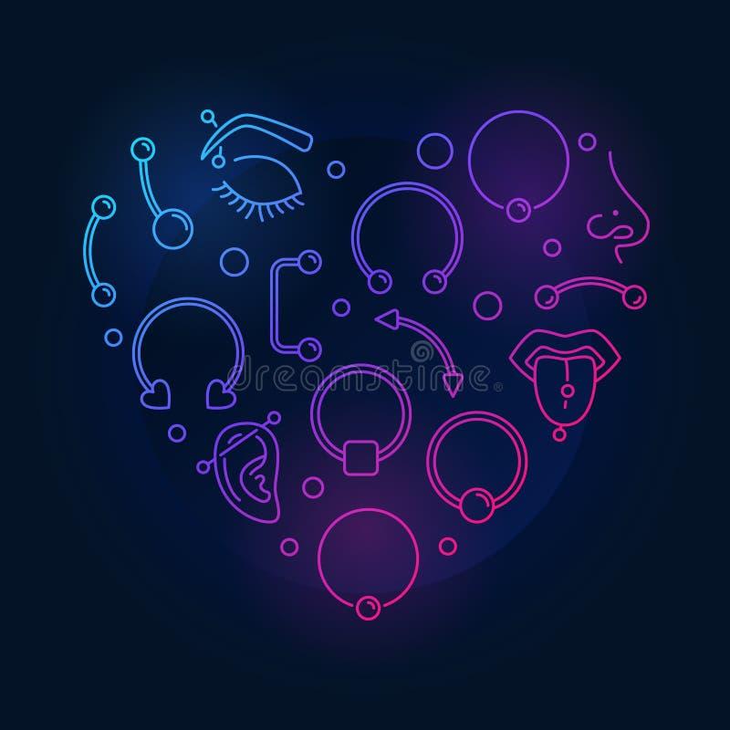 五颜六色的心脏形状由刺穿创造性的稀薄的线制成象 皇族释放例证