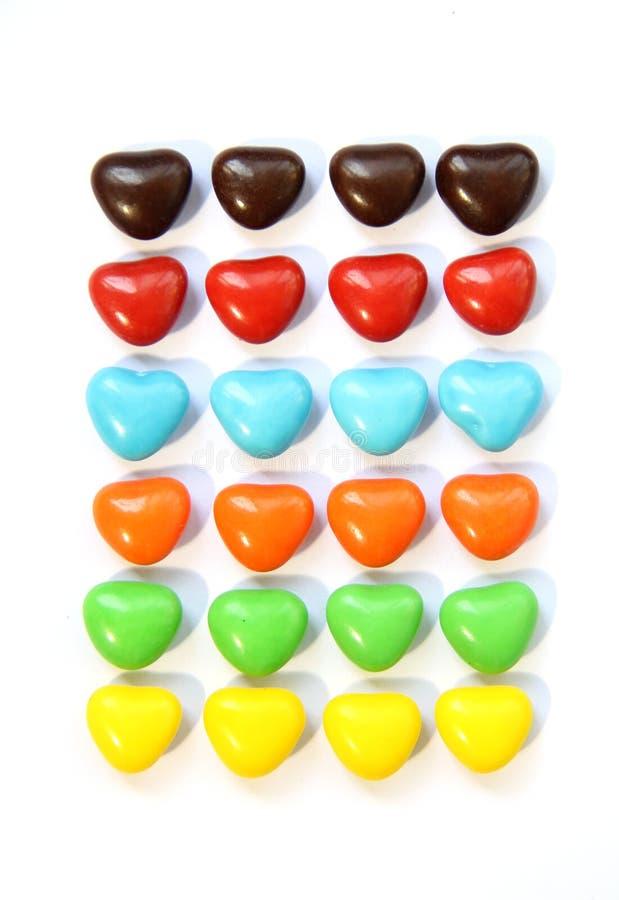 五颜六色的心脏形状糖果 库存图片