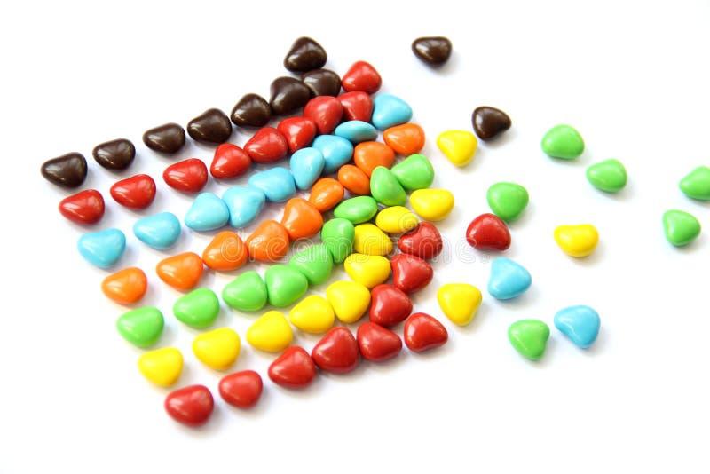 五颜六色的心脏形状糖果 图库摄影