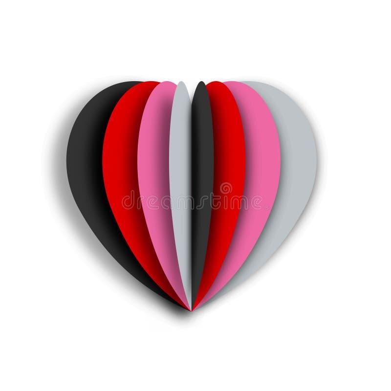 五颜六色的心脏纸艺术有白色背景 Origami样式和概念情人节 也corel凹道例证向量 皇族释放例证
