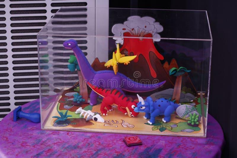 五颜六色的恐龙玩具 库存照片