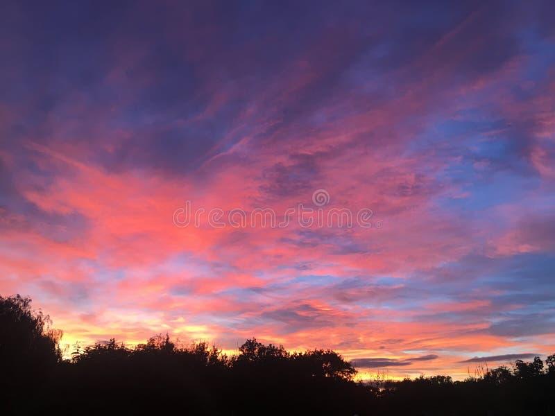 五颜六色的惊人的日落 库存照片