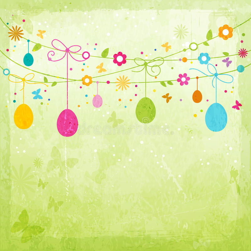 五颜六色的愉快的复活节设计 库存例证
