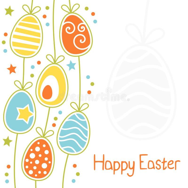 五颜六色的愉快的复活节卡片用减速火箭的鸡蛋 皇族释放例证