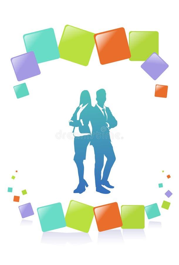 五颜六色的成功商人剪影、变化商人和女实业家泡影,成功的队概念 向量例证