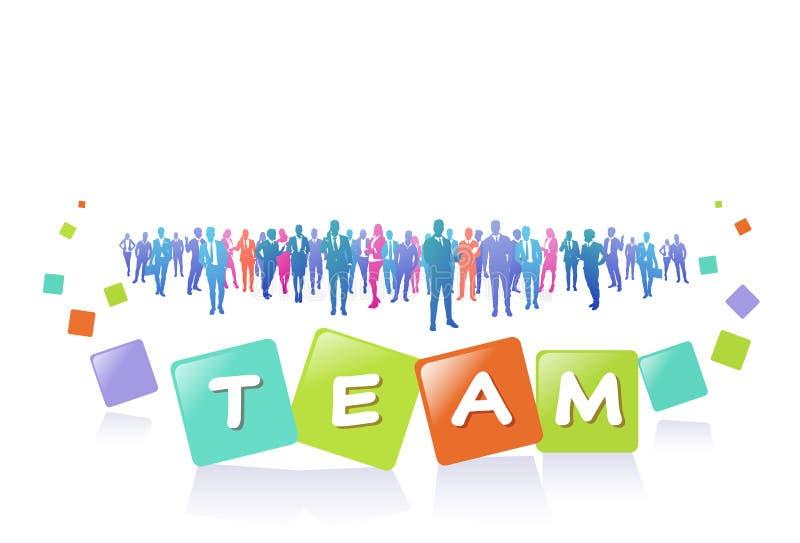 五颜六色的成功商人剪影、小组变化商人和女实业家成功的队概念 库存例证