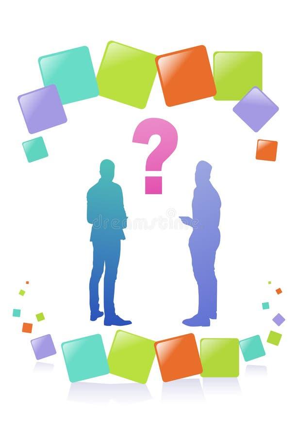 五颜六色的成功商人剪影,变化商人协议问题起泡,成功的队概念 向量例证