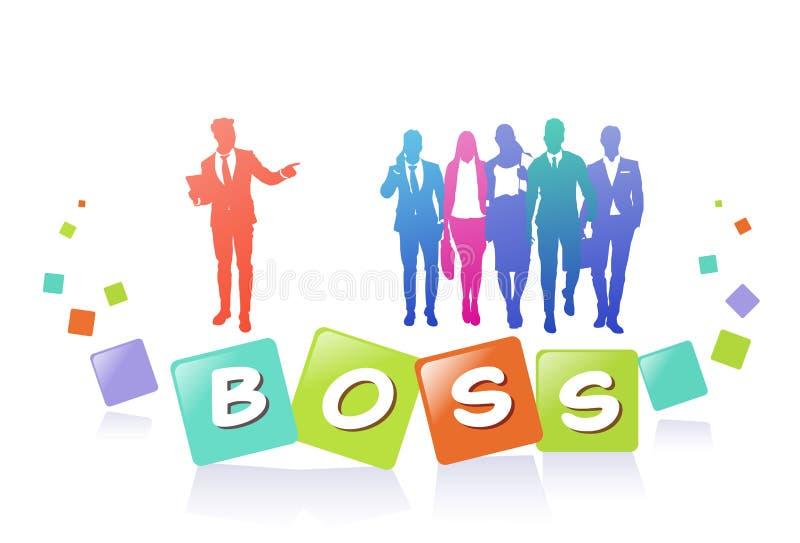 五颜六色的成功商人剪影,小组与上司领导的变化商人,成功的队概念 皇族释放例证