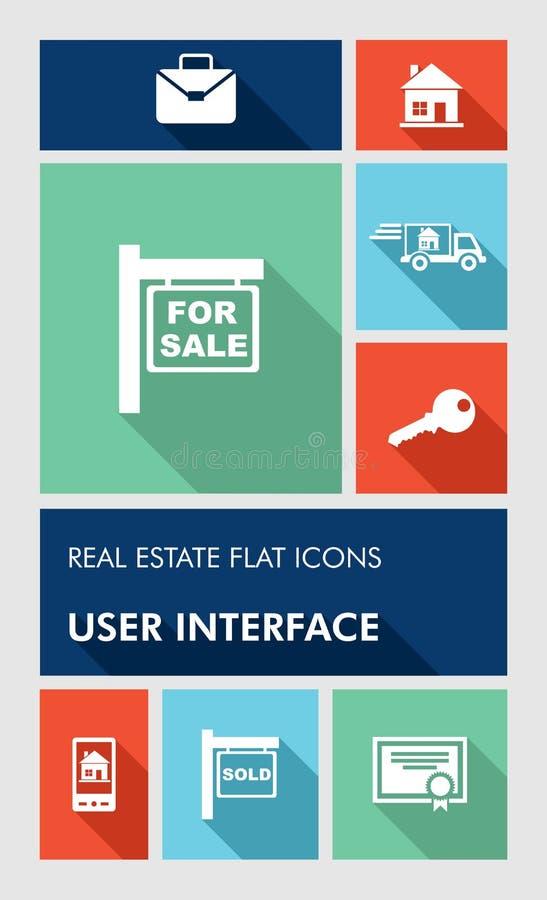 五颜六色的房地产UI apps用户界面平的i 皇族释放例证